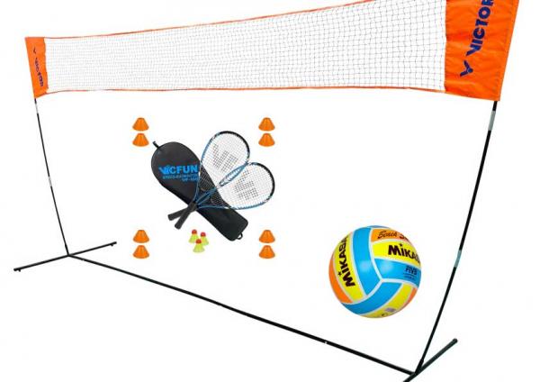 Victor Mobiles Badminton Netz Easy Set mit Ball & Schlägerset Field
