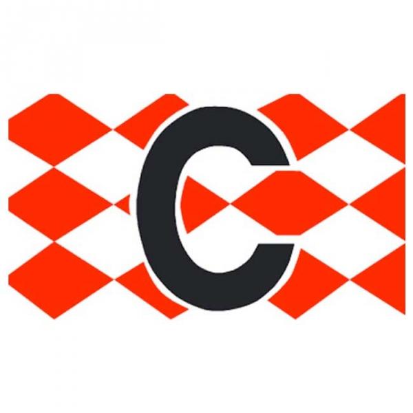 Spielführer-Armbinden C Rautendesign rot/weiß