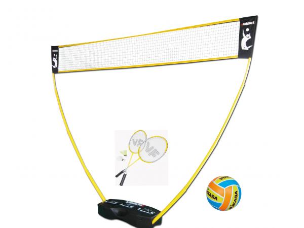 HAMMER 3 in 1 Set für Volleyball, Badminton & Tennis inkl. Ball & Schläger